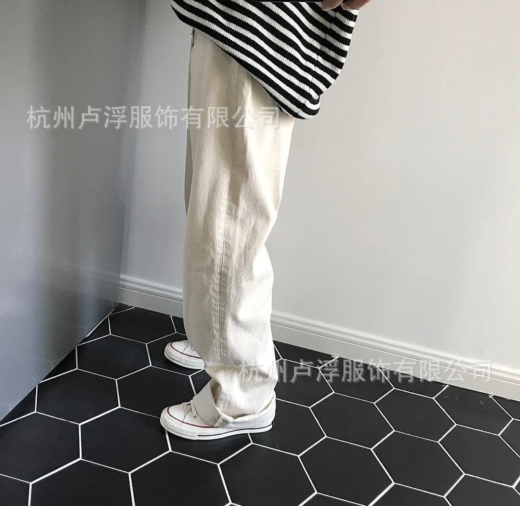 盧浮韓國東大門顯瘦顯高休閑寬松韓版直筒闊腿高腰白色牛仔褲女
