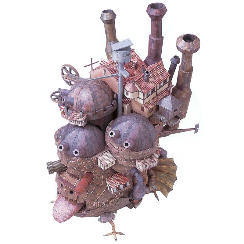 英文动漫手办纸模型宫崎骏周边摆件哈尔的移动城堡3D纸模diy礼物