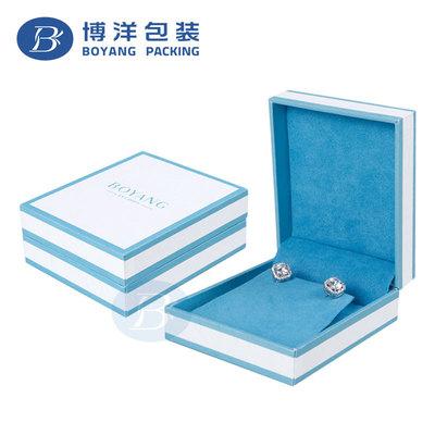 蓝白间色方盖饰品盒 戒指盒 耳钉盒吊坠盒通用厂家直销批发