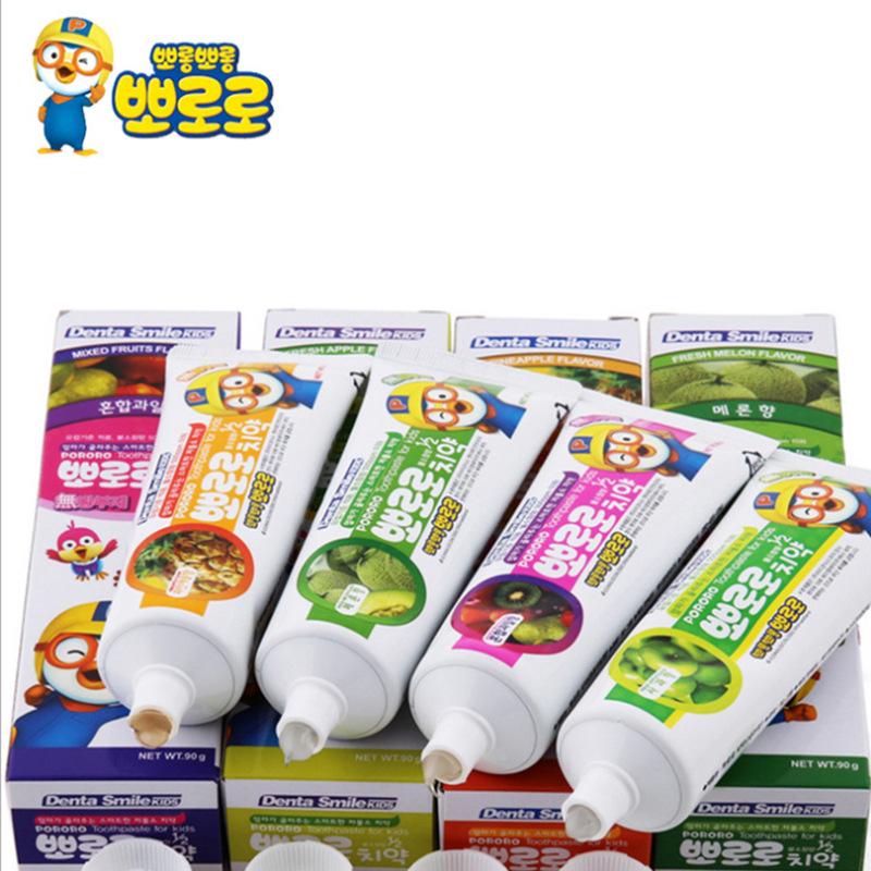 韩国进口啵乐乐pororo儿童牙膏低氟水果味幼儿宝宝口腔清洁护理90