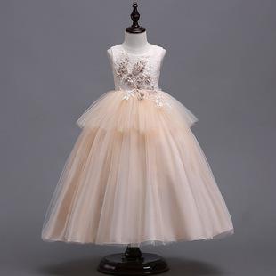 欧美女童背心连衣裙礼服儿童婚纱公主蓬蓬裙中小童六一表演服长裙