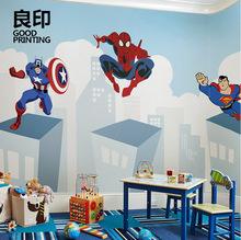 美国队长漫威卡通儿童墙纸男孩壁纸个性创意定制壁画无缝墙布