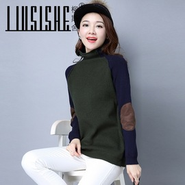 Autumn and winter women's loose sweaters, stickers, matching bottoms, half-high collars, skinny pullovers, women's sweaters, women's sweaters