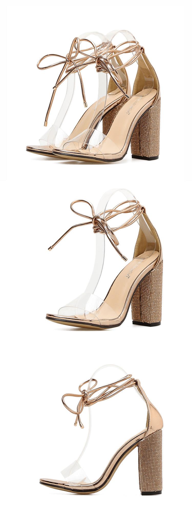 High heel rhinestone chunky heel strap with transparent sandals NHSO153269