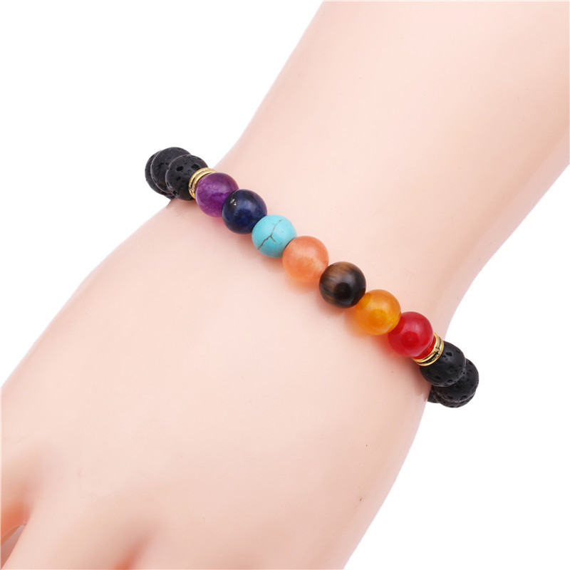Natural stone colorful chakra energy yoga bracelet colorful agate volcanic stone 8mm bracelet bracelet NHYL173509