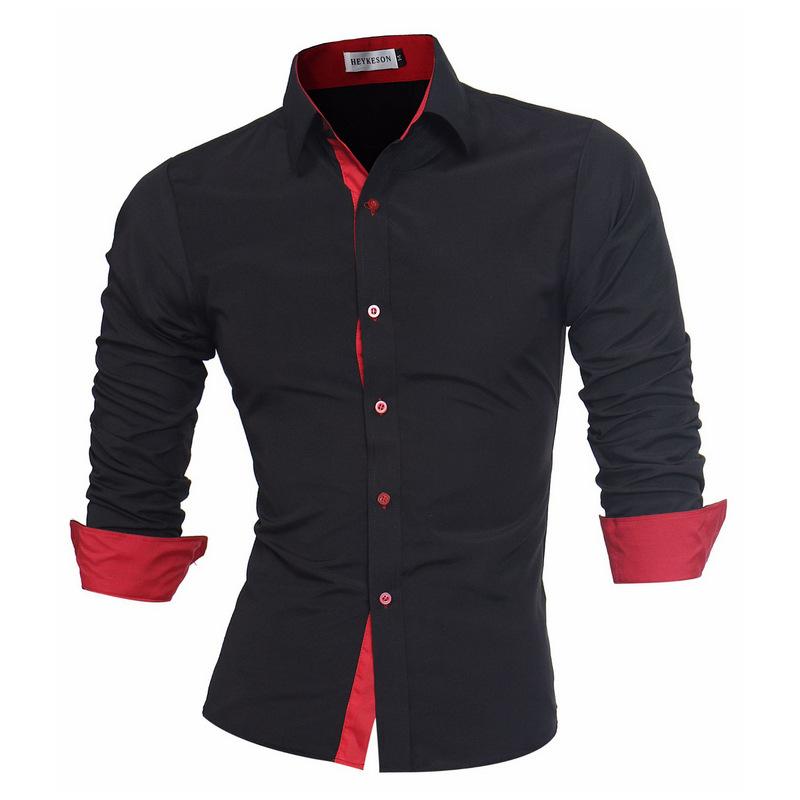 亚马逊外贸原单 个性门襟拼色男士长袖休闲衬衫职业打底白衬衣C09