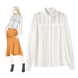 Neon  early spring new lace shirt stand collar mesh perspective lace edge temperament ladies shirt 812178
