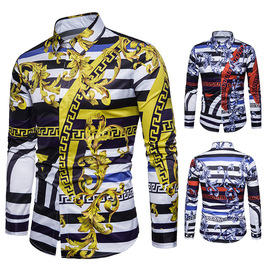 Men's fall New European and American Palace style Digital printed long-sleeved shirt Men's Fashion shirt