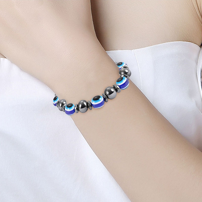 Fashion Natural Stone Inlaid precious stones Bracelets Geometric (Steel color)  NHLP0910-Steel color