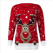 跨境专供欧美秋冬新款女式针织衫圣诞款小鹿提花毛衣厂家直销货源