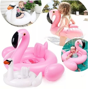 Factory wholesale baby inflatable white swan seat ring flamingo child swimming ring child lifebuoy baby seat ring