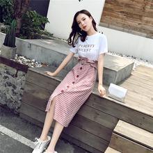 2018夏季新款港味复古短袖T恤拼接格子假两件中长款收腰连衣裙女