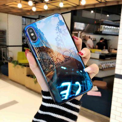 New iPhoneX Mobile Shell Gương Apple X / 8 Điện Thoại Di Động Phim Hoạt Hình Màu Xanh Silicone Mềm Gương Bìa Thủy Triều