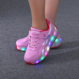 Children's Heelys Boys Single Wheel Student Pulley Shoes Automatic Invisible Rechargeable Lights Shoes In Tonger Girls Shoes