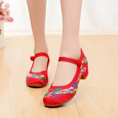 Women chinese performance phoenix shoes retro classic embroidery peony hanfu tang fairy embroidered shoes dance shoes