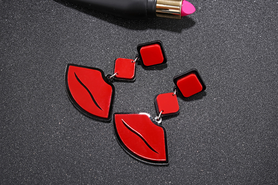 flame red lips punk jazz style exaggerated fashion acrylic earrings wholesale NHXI243629