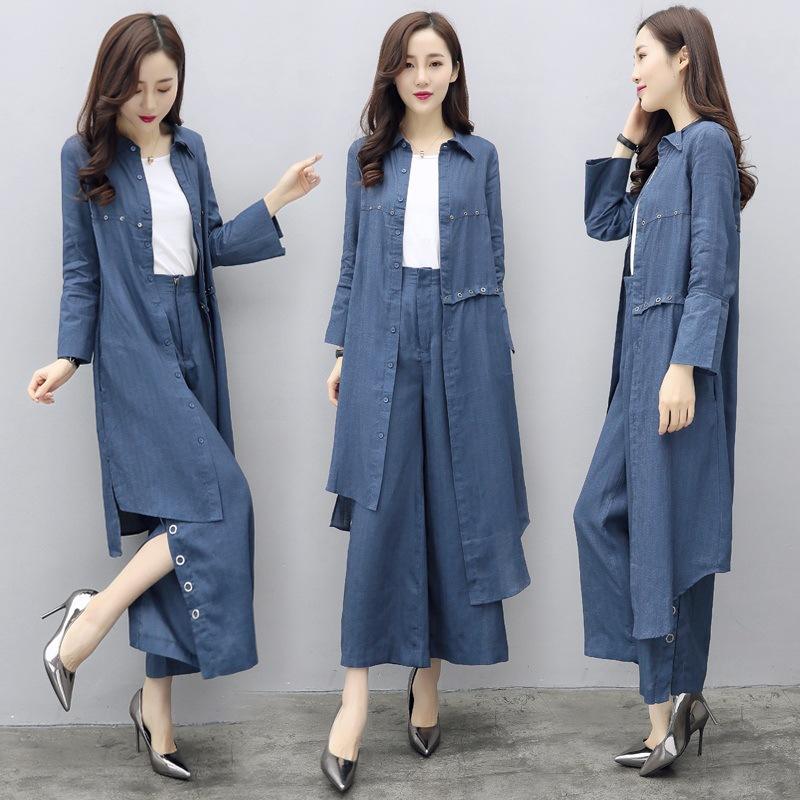 女士春装2019新款时尚套装休闲牛仔两件套不规则衬衫阔腿裤气质潮