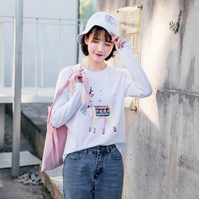 批发2018秋款秋季新款韩版长袖T恤女打底衫上衣女装一件代发