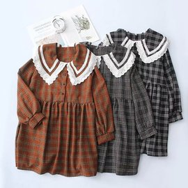 B2995-Twelve-Women   Spring New Loose Lace Collar Plaid Dress