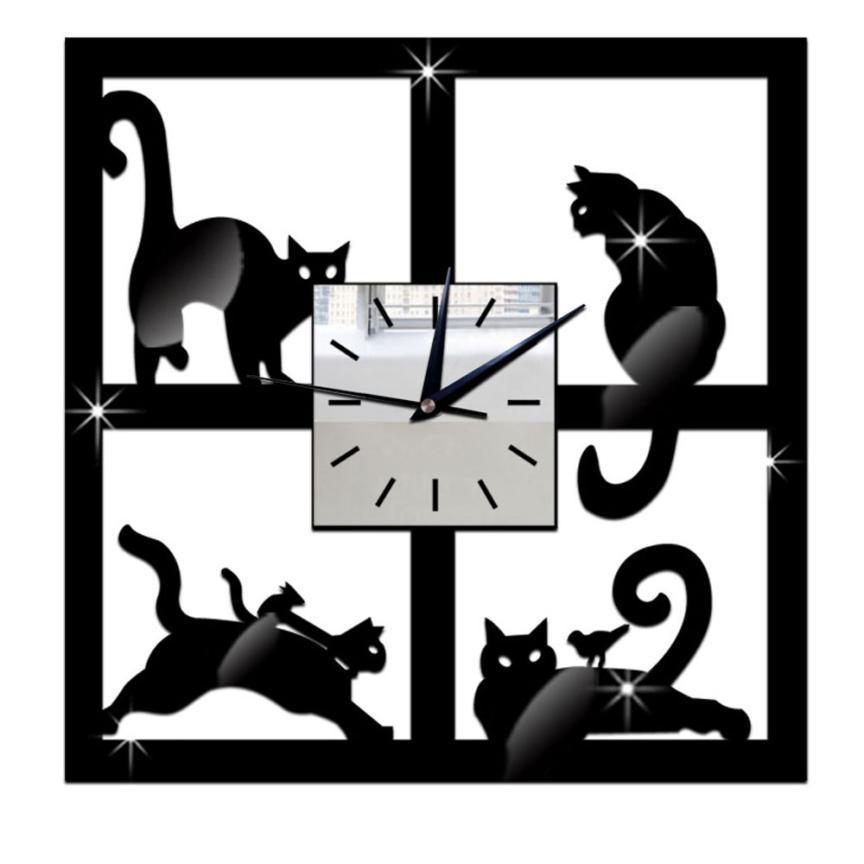 创意挂钟clock 亚克力猫尾时钟亚马逊热卖爆款装饰钟表客厅静音鐘