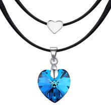 韩国流行饰品采用施华洛世奇元素水晶项链女气质双层心形颈链批发