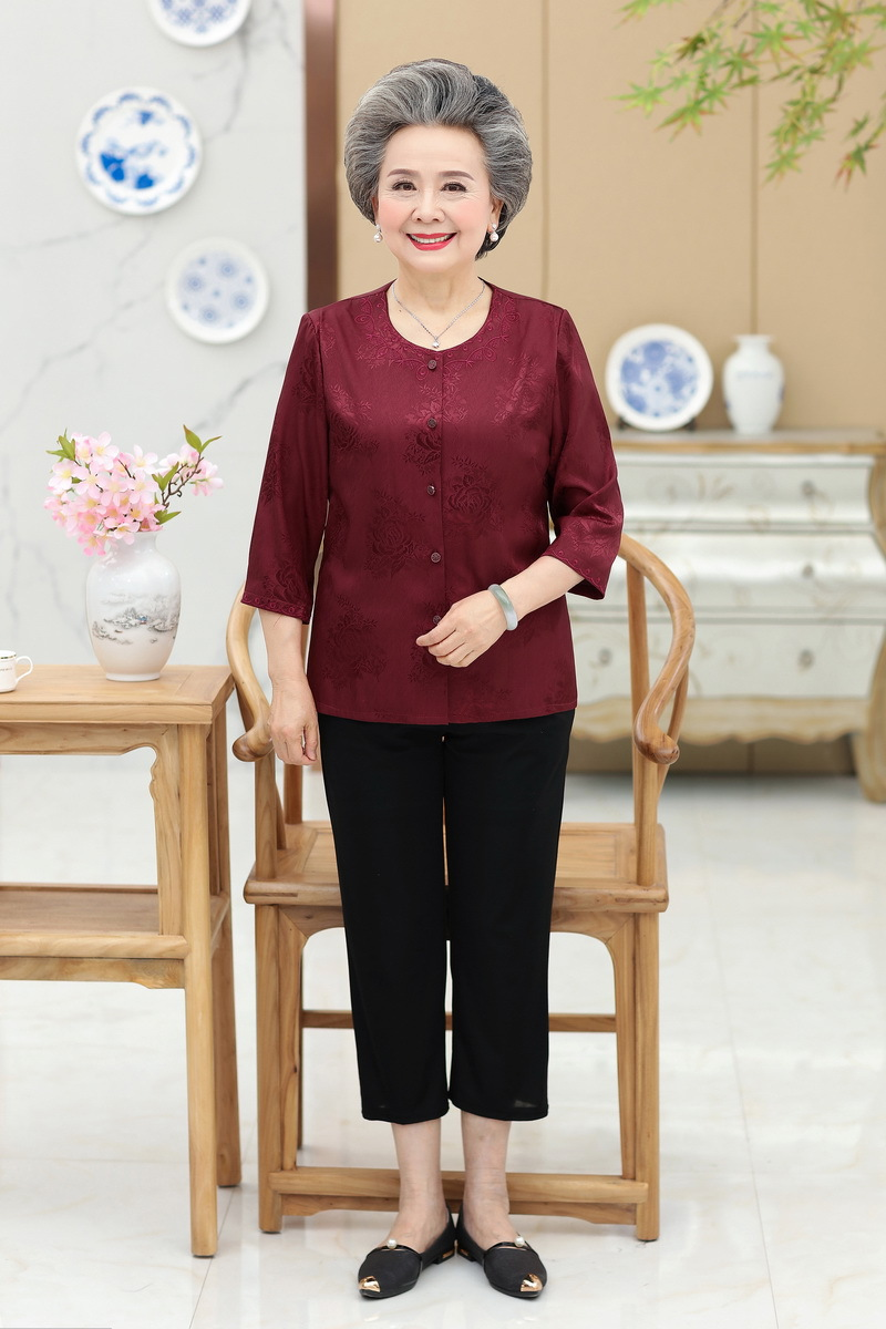 Elderly Women Summer Set 60-70-80-year-old Old Man Clothes Mother Dress Grandma Elbow-sleeve Thin Top
