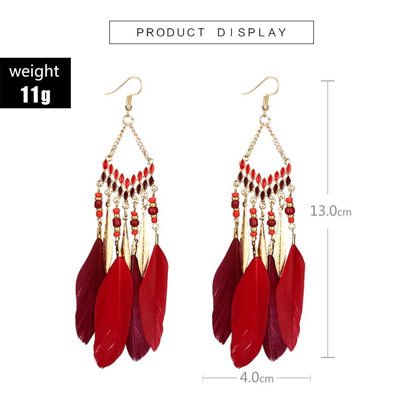 Alloy Bohemia Tassel earring  red NHGY2020red