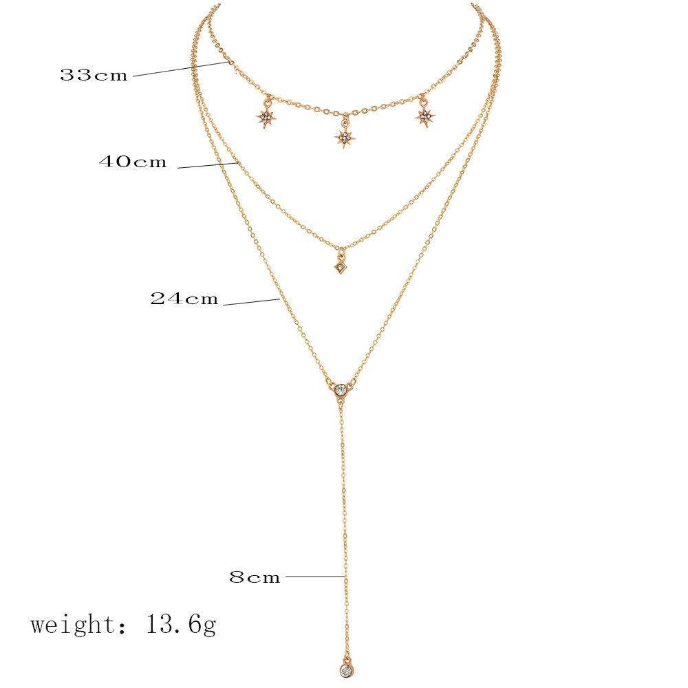 Hot selling fashion diamond starlight multilayer womens necklace set NHAJ258392