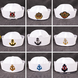 Wholesale cuffed hats, white navy hats, European and American stage props, children's trendy uniforms, captain sailor hats