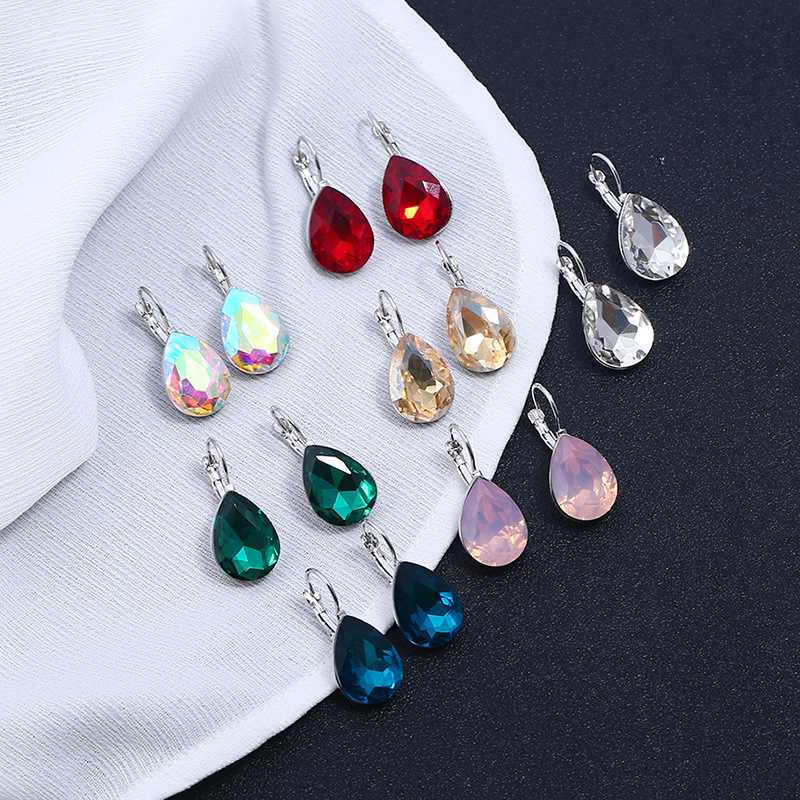 Alloy Fashion  earring  (White K red - ring) NHKQ1918-White-K-red-ring