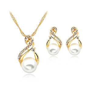 Manufacturers supply European and American fashion cross-border hot-selling pearl necklace earring set bridal jewelry set in stock