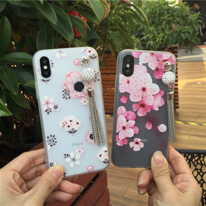Rhinestone fringed flowers apple XS maxXR x9/x21/iP8plus anti-fall translucent soft apple X/R15
