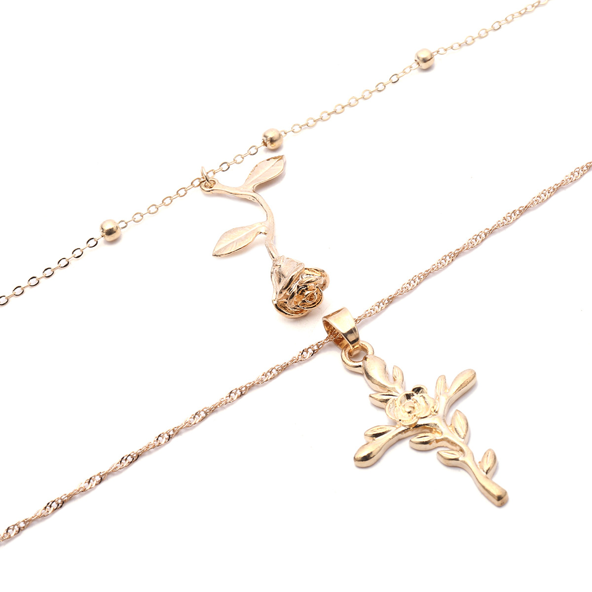 Alloy Fashion Flowers necklace(Golden) NHXR2320-Golden