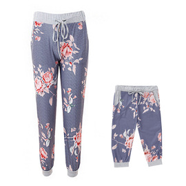Spring pocket print flower straps bow trousers fashion casual yoga pants mother and daughter parent-child pants