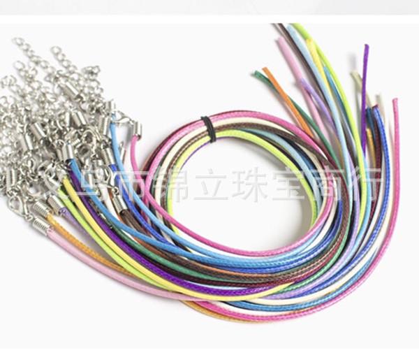 2MM圆韩国蜡线项链皮绳混色开口一头韩版弹簧扣带链条棉蜡线皮绳