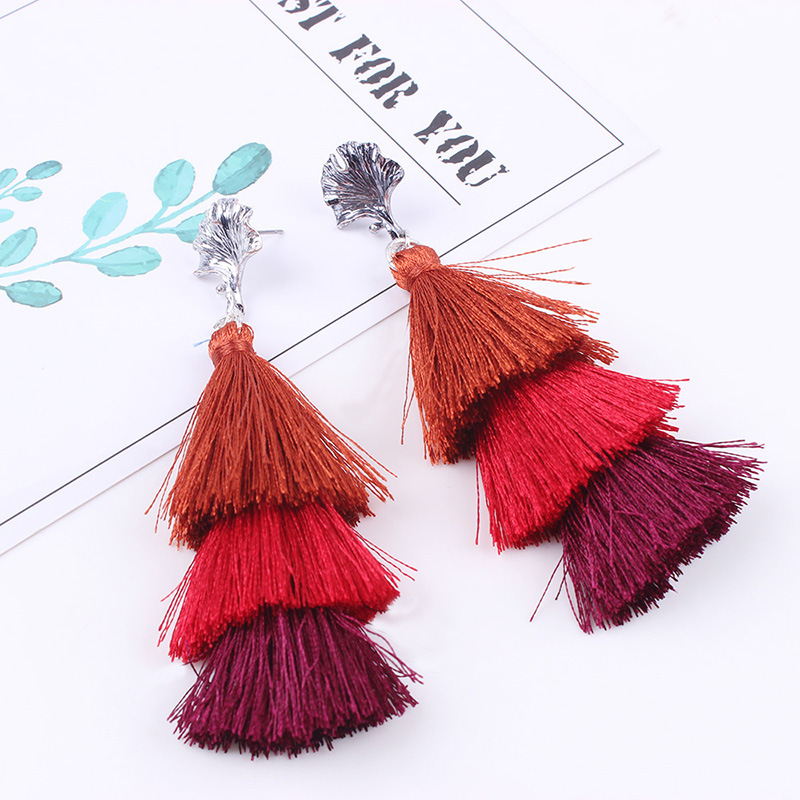 Plastic Fashion Tassel earring  Red NHNMD4695Red