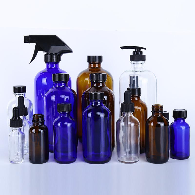 廠家直銷500mL透明波士頓瓶玻璃噴霧瓶洗手液瓶小口精油瓶試劑瓶