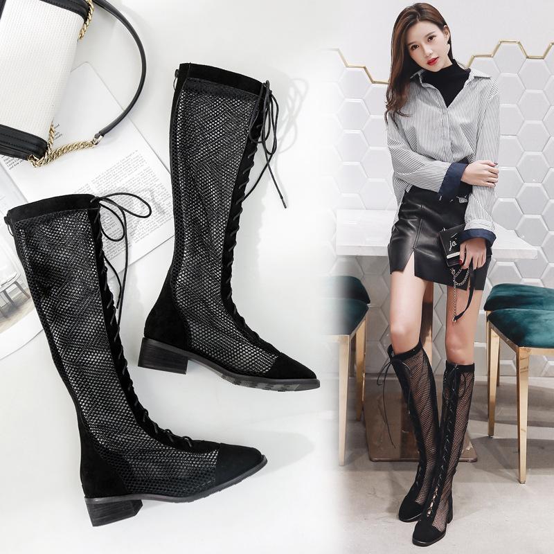 欧洲站蕾丝网料高筒凉靴镂空时尚绑带女鞋2018外贸凉鞋女夏大码鞋