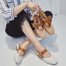 玛丽珍粗跟凉鞋女2019?#21512;?#26032;款后?#25214;?#23383;带复古夏季凉鞋方头鞋