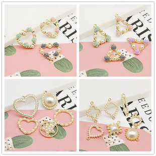 DIY handmade materials alloy accessories tide Korean jewelry double hanging double ring earrings pendant pearl favorite collocation accessories