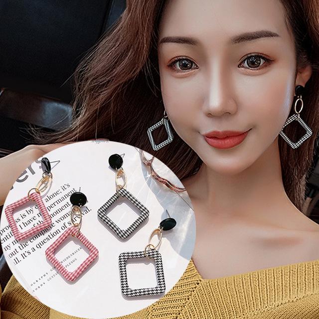 韩国东大门时尚豹纹几何镂空耳钉个性千鸟格长款流苏耳环爆款饰品