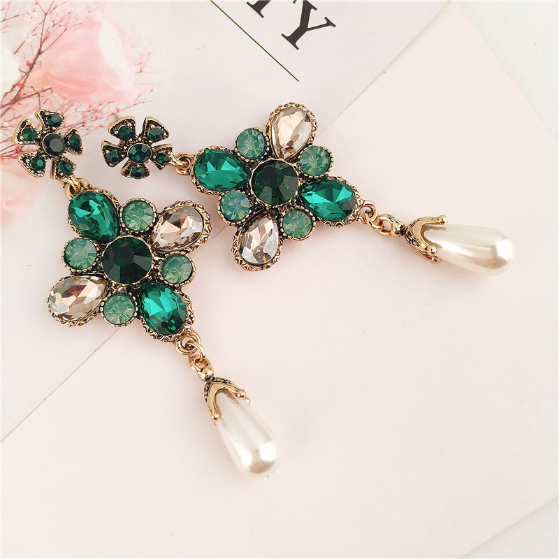 Alloy Fashion Flowers earring(green) NHVA4822-green
