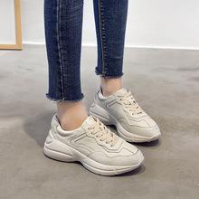 女鞋2018春季新款做旧老爹鞋前系带休闲松糕底擦色小白鞋运动鞋潮