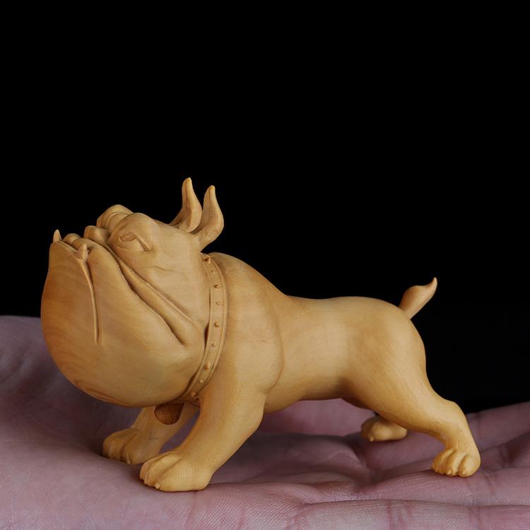 小叶黄杨木雕实木生肖狗把玩手把件雕刻工艺品创意家居卡通小摆件