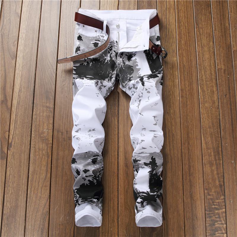 新款欧美风数码印花裤男修身花裤子时尚弹力小脚休闲长裤5602