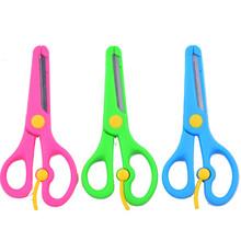 儿童手工塑料包边弹簧剪刀学生卡通安全剪刀带刀片幼儿园剪刀批发