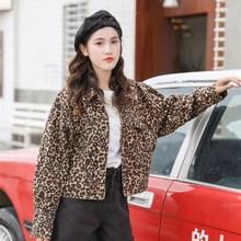 2019春款韩国chic时尚翻领落肩袖豹纹百搭夹克牛仔外套女短外套