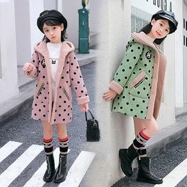 Girls plus velvet jacket autumn and winter new foreign gas sweater children's wear thick cardigan girls cotton shirt