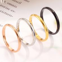 欧美新款时尚简约光面钛钢戒指 镀18K玫瑰金球面不锈钢情侣戒指女
