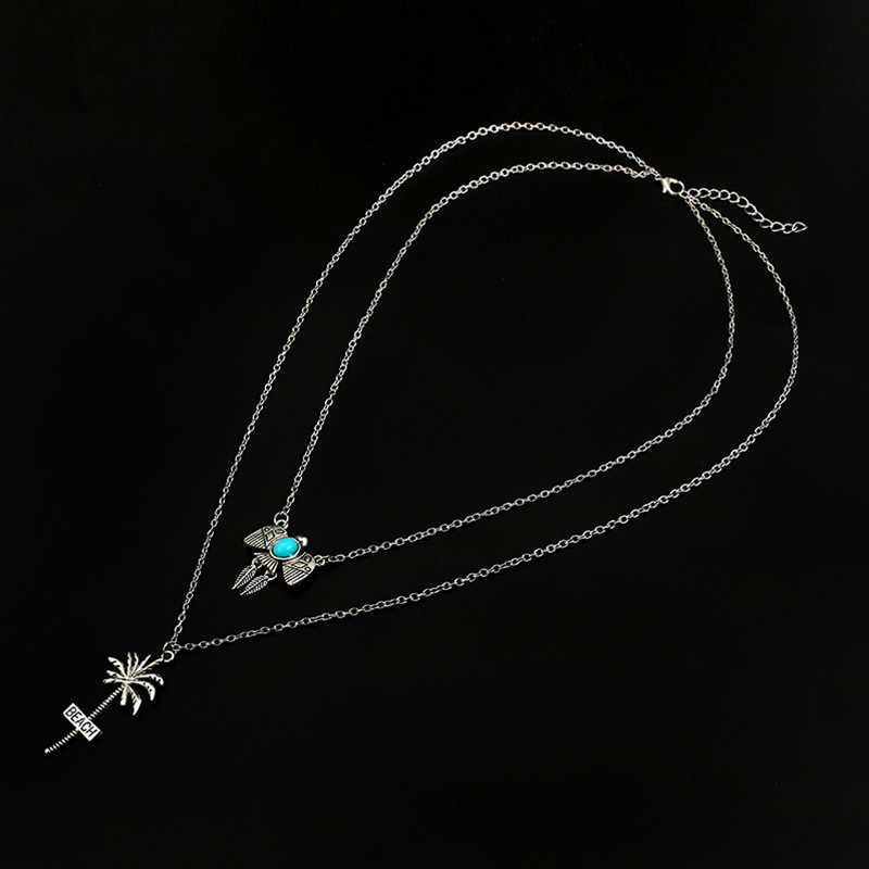 Womens Coconut Tree Plating  Hawaiian fruit tree micro-set with turquoise coconut  multilayer Alloy Necklaces GY190416117618